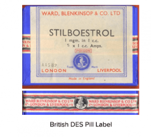British DES Pill Bottle Label